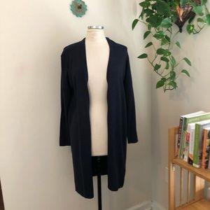 Eileen Fisher longer cardigan sweater navy medium